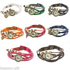 1PC Mixed Weave Wrap Pendant Leather Strap Bracelet Mustache WristWatch M2099