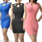 Women Sexy Hollow Out Sleeveless Evening Party Bodycon Dress Free Size M2448