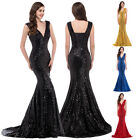 GK SEXY Golden Sequins Prom Bridal ball Gown Mermaid Formal Long Evening Dresses