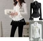Fashion Women Bowknot Ruffled Long Sleeves Shirt Tops Blouses 2Colors S~XXL IDE