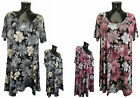 NEW Womens Top Plus Size Ladies PINK GREY FLOWER Summer Print Tunic Party Dress