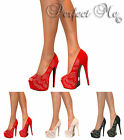 LADIES GLITTER CRYSTAL PEEP TOE PLATFORM STILETTO HIGH HEELS COURT SHOE SIZE 3-8