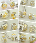 925 Silver II-Tones-Silver-Gold Plated Beads fit European Charm Bead Bracelets