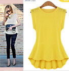 New Womens Fashion Lace Peplum Frill Bodycon Casual Party Tank Shirt Tops Blouse