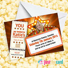 Personalised Kids Cinema Party Invites - Movie Themed Film Night Party