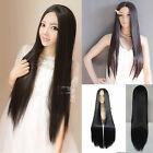 New Cosplay Costume Full Wigs Long Straight Hair 28' Weave Sclap Parted Bang Wig
