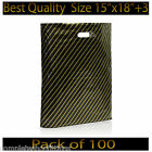Black and Gold Striped Jewellery Fashion Gift Shop Boutique Plastic Carrier Bags