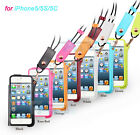 Luxury Leather Pouch Case With Pull Tab Lanyard Cover Shell For Apple iPhone4 4S