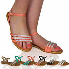 S7O Womens Strappy Diamante Sandals Flat Beach Summer Holiday Girls Ladies Shoes