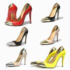 Women High Heel PU Patent Leather Party Shoes Gold Silver Pumps Pointed UK 2-9