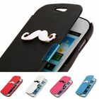 HW Magnetic Mustache Drawing PU Leather Flip Case Cover For Multi Model Phone
