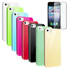 Green/Blue/White Slim Hard Case Cover For iPhone 5 5S 5th+Screen Protector