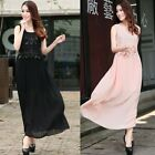 Women's  Lace Sequined  Chiffon Vogue Evening Party Long Prom Pleated Dress 7710