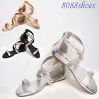 Women's Zipper Flat Ankle Strap Rhinestone Sandal Shoes Black Silver Champagne