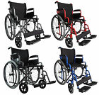 FoxHunter Lightweight Self Propelled Folding Transit Wheelchair Armrest Footrest