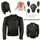 Black Motorcycle Brando Biker CE Protectors Quilted 100% Cowhide Leather Jacket