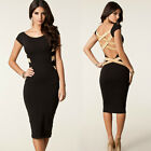 Sexy Unique Backless Celebrity Women Wear to Work Tunic Sheath Slim Fit Dresses