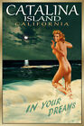 CATALINA Island California New Beach Travel Poster Marilyn Pin Up Art Print 171