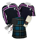 8yd Kilt Outfit 'Sports Premium' - Purple Stripe Rugby Top - Ramsay Blue