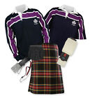 8yd Kilt Outfit 'Sports Premium' - Purple Stripe Rugby Top - Stewart Black