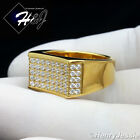 MEN's Gold Over Stainless Steel Silver 2.22 CT CZ Iced Out Bling Ring Size 7-12