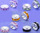 100 Rhinestone Rondelle Spacers Beads 8x4mm M0164
