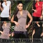 NEW SEXY MILITARY BLOUSE ladies SHORT SLEEVE SHIRT 6 8 10 12 WOMENS TOP XS S M L