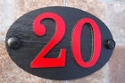 House Number Signs Slate Aluminium Protruding Numbers 1 to 50 Spanish Red oval