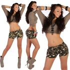 Hot Pants Camouflage Army Tarn Hüftjeans Jeans Shorts Shorty Hellblau Sexy D2