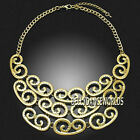HOLLOW OUT CHAIN COLLAR PENDANT BIB SPIRAL WAVE VINTAGE DESIGN NECKLACE JEWELRY