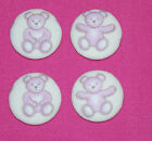 PINK TEDDY BEAR FABRIC COVERED BUTTONS available in 30mm size