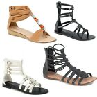 WOMEN COMFY LADIES BEADED ANKLE CUFF STRAP SANDALS SIZE UK 3-8