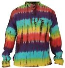 Colorful Tie Dye Hippie Style Holiday Grandad Shirt,Super Soft Boho Casual Top