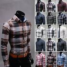 Z6180 New Mens Fashion Button Plaid Luxury Casual Slim Fit Stylish Dress Shirts