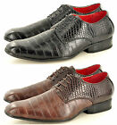 Mens Leather Lined Snake Skin Pattern Pointed Winkle Pickers Spats Shoes UK 6-12