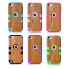 Light Wood Grain Style Hybrid Impact Hard Case For Apple iPod Touch 5 Case + Pen