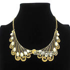 GOLDEN CHAIN RESIN BEADS HOLLOW COLLAR CHOKER PENDANT BIB NECKLACE VINTAGE RETRO