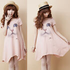 New Lovely Sweet Cute Girl Cat Animal Print Summer Loose Tops Shirt Dress Casual