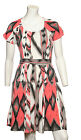 New Ladies Ex TOPSHOP Cut out Back Skater Dress in Coral/Black/Cream print