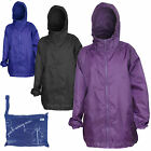 Ladies Rain Mac Pack Away In Bag Coat Black Purple Blue