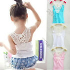 Kids Girls Crochet Hollow Out Floral Tank Tops Tee Shirts Vest 0-3Y Candy Colors