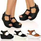 H18 New Womens Mid High Wedge Sandals Platform Peep Toe Casual Ladies Shoes Size