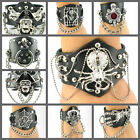 UH023 Huge Spider Web Skull Rock Wide Wristband Cuff Chain Black Leather Punk