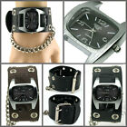 UK2532 Quartz Deluxe Punk Rock Watch Men/Women Hole+ Chain Leather Gothic