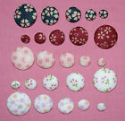 MULTI FLORAL FABRIC COVERED BUTTONS available 12,  15,  20,  25,  30,  40mm sizes