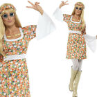 Ladies Hippy Fancy Dress Costume - 1960s 60s Hippie Lady Outfit Sixties Dress