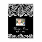 Personalised Funeral Memorial Order of Service A5 Folded Black White Lace Theme