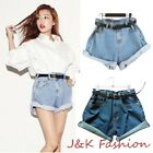 Women's Baggy Loose Shorts Hot pants Ladies High Waisted Denim Jeans Over size