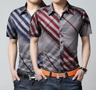 ZD81 New Mens Cotton Luxury  Casual Short Sleeve Slim Stylish Dress Shirts