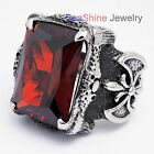 Men's Silver Dragon Claw Black Ruby CZ Biker 316L Stainless Steel Ring Size 7-13